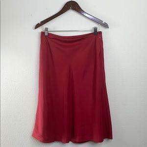 Ann Taylor red 100 % silk skirt, size 8